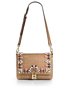 Dolce & Gabbana Embellished Straw Shoulder Bag