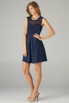Navy Box Pleat Dress