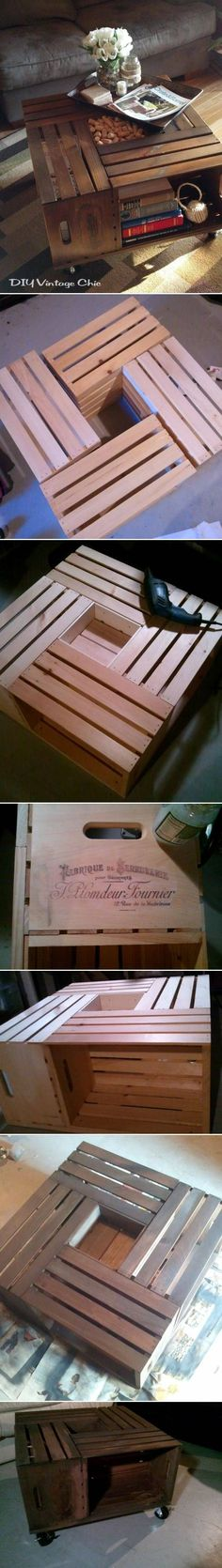 Wine crate coffee table.  Easy and looks chic