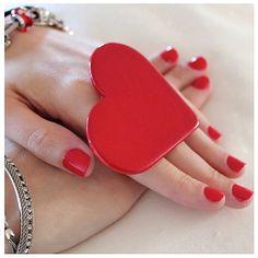Big Red Heart Ring Ceramic big bold oversize