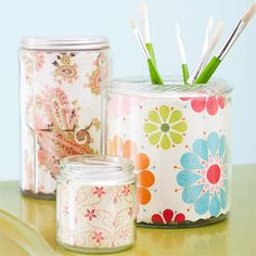 Paper-Lined Jars  The difference is in the details. Cover the insides of plastic or glass jars and containers with patterned paper. Cut to size, place inside, and secure with tape. Cover a grouping of jars and display together.