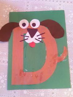 letters, kindergarten, preschool, alphabet craft, d dog craft, alphabet animals, d is for dog