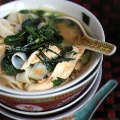 Hanoi Noodle Soup with Chicken, Baby Tatsoi, and Bok Choy Recipe @Saveur Magazine