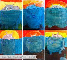 underwater hippos
