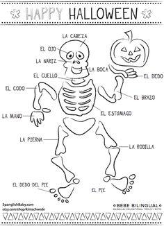 Spanish Body Parts Halloween theme   Printable on Spanglishbaby.com