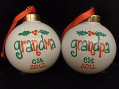 New GRANDMA or GRANDPA CHRISTMAS Ornaments, Est. Year, Cute Pregnancy Announcement. $12.50, via Etsy.