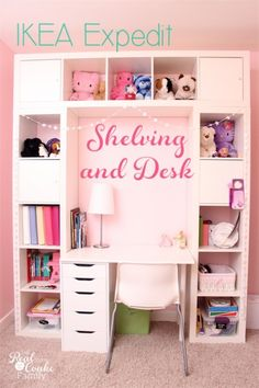 Genius shelving unit and desk using an IKEA Expedit. Perfect storage solution for a child's room, entertainement center, or home office. #IKEA #Expedit #DIY #Shelving #RealCoake