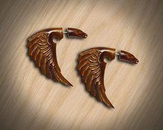 Fake Gauges  Bird of Happiness  Organic Wood by PrimalOriginals, $23.00