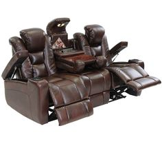 Octane Mega Multi Function Reclining Sofadge in Brown Bonded Leather