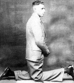 Vintage Photo of man with legs going in different directions.