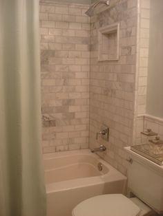 simple marble subway bathroom design, house tours, basement bathroom, marbl subway, small baths, shower remodel, subway tiles, hall bath, guest bathrooms
