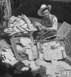 Roy with some of his fan mail in 1943. This is amazing.