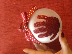 Baby's first Christmas ornament with glitter handprint! Perfect gift for the grandparents!