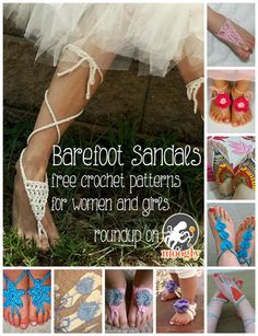Crochet Barefoot Sandals Roundup - 10 free patterns for women and girls!   ☀CQ #crochet #crafts #DIY.  Thank you for sharing! ¯\_(ツ)_/¯