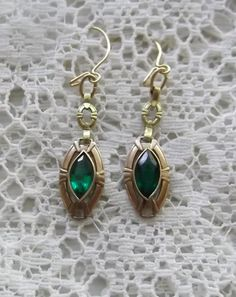 Antique Gold and Emerald Green Glass Earrings $50.00