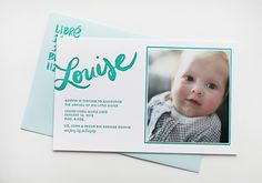 Best of 2013: Baby Announcements / Louise's Turquoise Hand Lettered Birth Announcements by Linda & Harriett