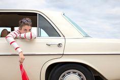 red stripes; classic car