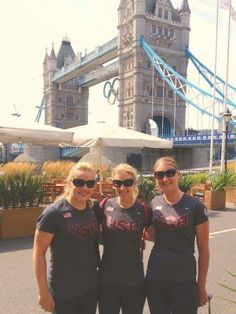 Olympic heroes turn tourists as London 2012 end nears | American track cycling silver medal winners Jennie Reed (L), Sarah Hammer and Lauren Tamayo (R) in front of London's Tower Bridge (Photo: Alastair Jamieson / NBC News) #NBCOlympics