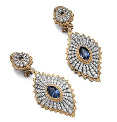 Pair of Two-Color Gold, Sapphire and Diamond Pendant-Earrings - Buccellati