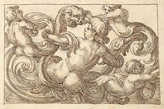 Horizontal Panel design w/ four Hybrid Male figures & a Fantastical creature Interspersed between Acanthus Rinceaux ~ 17th century Venetian drawing