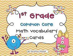 1st Grade Common Core Math Vocabulary Cards