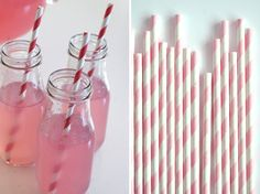 girl parti, partayyy idea, milk bottles, pink drinks, pink punch, paper straws, pink lemonade, parti idea, 50s parti
