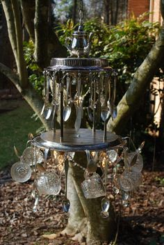 Have an old silverware set laying around? Repurposed/ Recycled Vintage Chandelier Idea