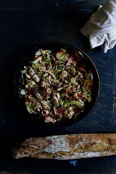 Squid & fennel salad with lemon zest.