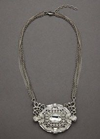 Vintage Crystal Medallion Necklace, Style N7185 #davidsbridal #grayweddings #jewelry