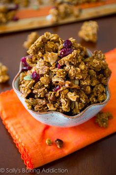 Pumpkin Spice Granola for all of you pumpkin lovers out there. Super crunchy, irresistible, and spiced with cinnamon.
