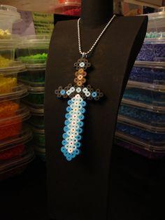 Minecraft Bead Sprite Necklace - Diamond Sword. $5.00, via Etsy.