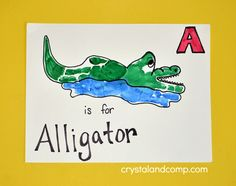 Hand Print Art - A is for Alligator Craft
