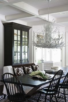 dining rooms, dine room, painted furniture, light fixtures, black cabinets, white rooms, black white, hous, black furniture