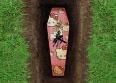 kitti casket, hello kitti, funni, die, buri