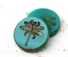 Dragonfly czech beads glass flat turquoise green by MayaHoney