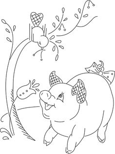 A very cute pig and a bird with some cherries. Adorable!