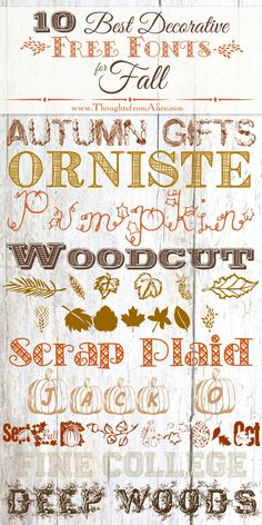 Thoughts from Alice: 10 Best Decorative Free Fonts for Fall