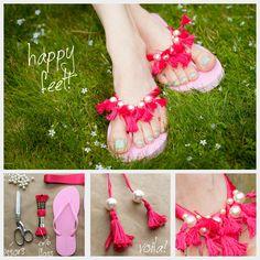 Tassel Beaded Flip Flops DIY {Trinkets in Bloom} #diy #fashion