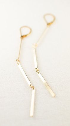 Ke'alohi earrings  gold bar earring long gold