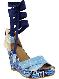 Women's Printed Cross-Over Wedges | Old Navy    Why do I like these? But I do!
