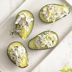 Crab salad stuffed avocados