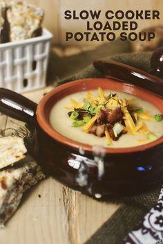 Slow Cooker Baked Potato Soup W/ BACON SCONES! via @passthesushi
