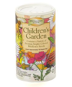 A seed shaker made just for kids, full of colorful flower seeds.