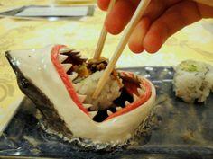 foods, plates, sauces, shark sushi, sushi plate, mouths, food art, sharks, bowls