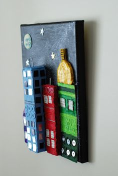 cityscapes, 3d cardboard, art idea, art class, mixed media, 3d art projects, mix media, artist woman, cardboard citi