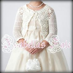 White Hand Crochet Girls Cardigan Bolero Jacket 100% Cotton
