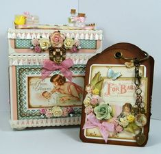 Andrew Roberts' altered Little Darlings keepsake chest even has a beautiful tag album inside using our Regular Tag Album Staples! #Graphic45