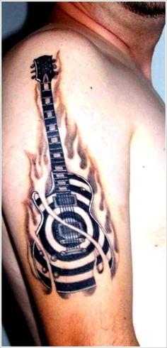 24 Great Guitar Tattoo Designs: Cool Guitar Tattoo Designs For Men On Sleeve ~ Tattoo Design Inspiration