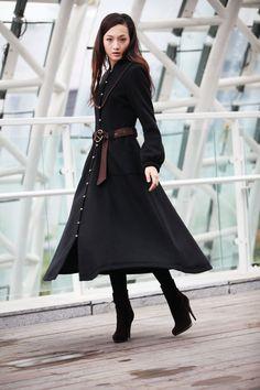 Winter Coat Black Coat Long Wool Coat  Winter Jacket Long Sleeve Cashmere Coat / Fast Shipping- NC202. $179.99, via Etsy.