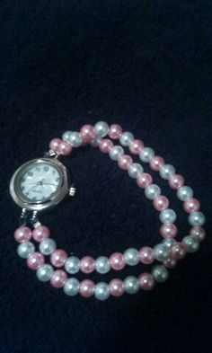 White and #Pink Glass #Pearl #Watch #Handmade by #PamelaBead #Jewelry on #ArtFire